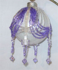 Purple & clear double swag Victorian Christmas ornament