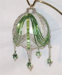 Green & silver double swag Victorian Christmas ornament